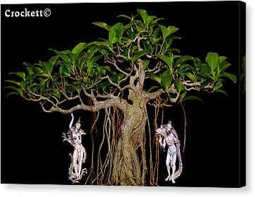 Canvas Print featuring the digital art Oriental Bonsai Gods by Gary Crockett