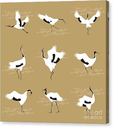 Stork Canvas Print - Oriental Cranes by Claire Huntley