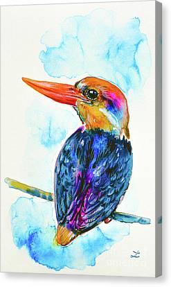 Canvas Print featuring the painting Oriental Dwarf Kingfisher by Zaira Dzhaubaeva