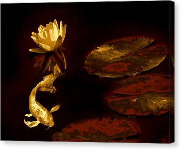 Oriental Golden Koi Fish And Water Lily Flower Canvas Print by Jennie Marie Schell