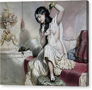 Oriental Woman At Her Toilet Canvas Print by French School