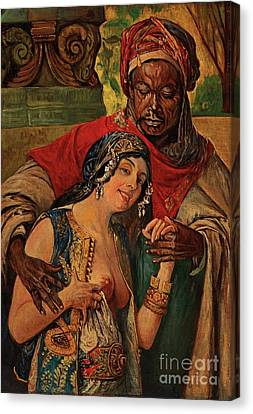 Canvas Print featuring the painting Orientalisches Paar  by Pg Reproductions