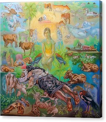 Origin Of The Goddess Canvas Print by Simon Drost