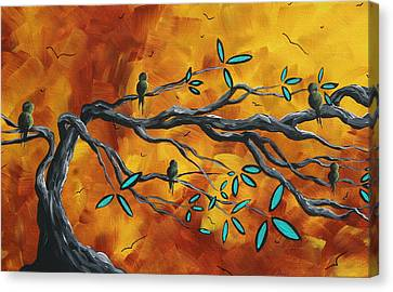 Original Bird Landscape Art Contemporary Painting After The Storm II By Madart Canvas Print by Megan Duncanson