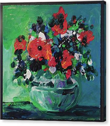 Original Bouquetaday Floral Painting By Elaine Elliott, Blues And Greens, 12x12, 59.00 Incl. Shippin Canvas Print by Elaine Elliott