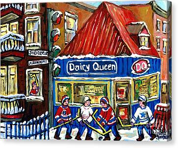 Original Canadian Hockey Art Paintings For Sale Snowfall At Dairy Queen Ville Emard Montreal Winter  Canvas Print by Carole Spandau