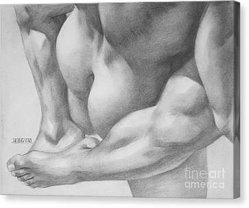 Original Charcoal Drawing Art Gay Interest Men  On Paper #16-3-11 Canvas Print