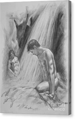 Original Charcoal Drawing Art Male Nude By Twaterfall On Paper #16-3-11-16 Canvas Print