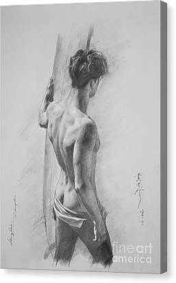 Original Charcoal Drawing Art Male Nude  On Paper #16-3-11-12 Canvas Print