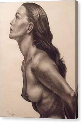 Original Charcoal Nude Female Profile Study Canvas Print by Neal Luea