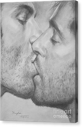 Original Drawing Sketch Charcoal Chalk Gay Man Art - Kiss Pencil On Paper -025 Canvas Print