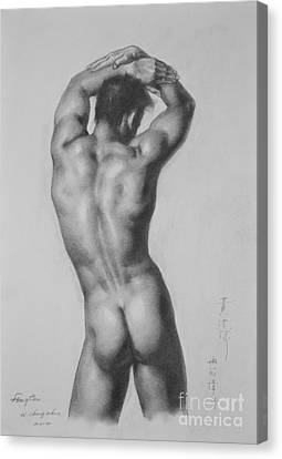 Original Drawing Sketch Charcoal Gay Interest Man Male Nude Art Pencil On Paper-0047 Canvas Print