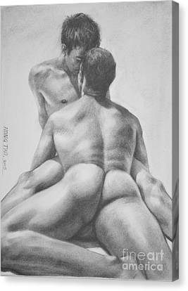 Original Drawing Sketch Charcoal Male Nude Gay Interest Man Art  Pencil On Paper -0028 Canvas Print