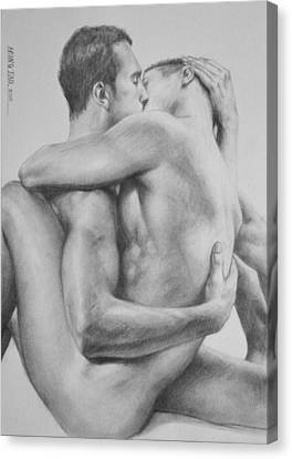 Original Drawing Sketch Charcoal   Male Nude Gay Interest Man Art Pencil On Paper -0034 Canvas Print