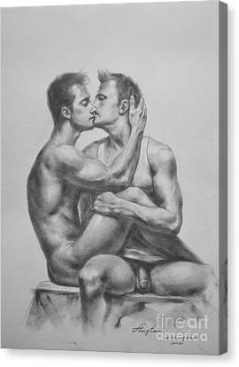 Original Drawing Sketch Charcoal Male Nude Gay Interest Man Art Pencil On Paper -0036 Canvas Print by Hongtao     Huang