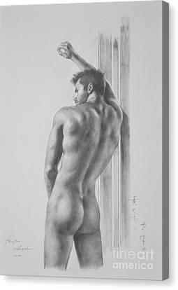 Original Drawing Sketch Charcoal Male Nude Gay Interest Man Art Pencil On Paper -0039 Canvas Print