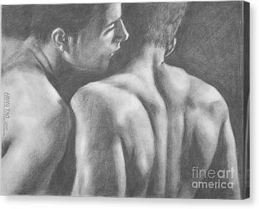 Original Drawing Sketch Charcoal Man Body  Male Nude Gay Interest Man Art Pencil On Paper -0029 Canvas Print by Hongtao     Huang
