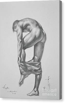 Original Drawing Sketch Charcoal Pencil Gay Interest Man Art  On Paper #11-17-14 Canvas Print