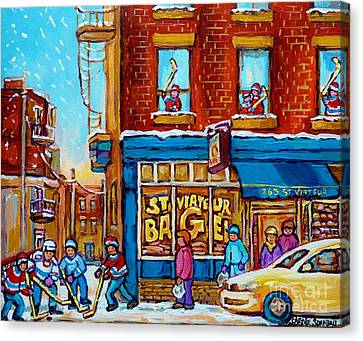St.viateur Bagel Canvas Print - Original Hockey Art St Viateur Bagel Paintings For Sale Street Hockey In The Laneway Canadian Winter by Carole Spandau