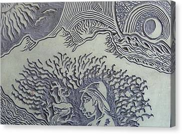Original Linoleum Block Print Canvas Print by Thor Senior