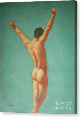 Original Male Nude Oil Painting Gay Boy Art On Linen-0022 Canvas Print