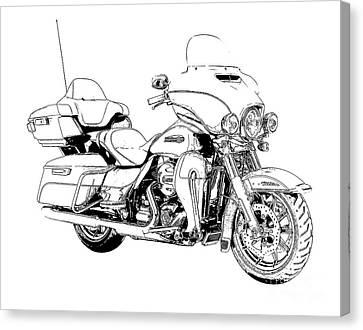 Arte Canvas Print - Original Motorcycle Portrait, Gift For Biker, Black And White Art by Pablo Franchi
