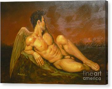 Original Oil Painting Art  Male Nude Of Angel Man On Canvas #11-16-01 Canvas Print