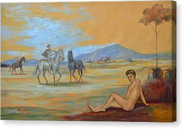 Original Oil Painting Art Male Nude With Horses On Canvas #16-2-5 Canvas Print by Hongtao     Huang