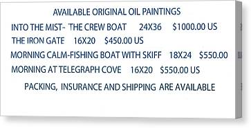 Canvas Print featuring the painting Original Oil Painting Availability List by Gary Giacomelli