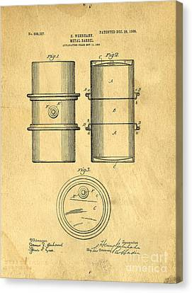 Original Patent For The First Metal Oil Drum Canvas Print by Edward Fielding