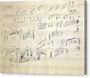 Original Score Of Beethoven's Moonlight Sonata Canvas Print by Beethoven