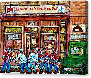 Original Street Hockey Art Paintings For Sale Les Produits Du Quebec Smoked Meat Pointe St Charles  Canvas Print by Carole Spandau