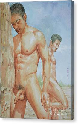 Original Watercolour Painting Art Young Men Male Nude Boys  On Paper #16-1-26-15 Canvas Print