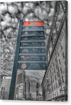 Oriole Park At Camden Yards Signs - Black And White Canvas Print by Marianna Mills