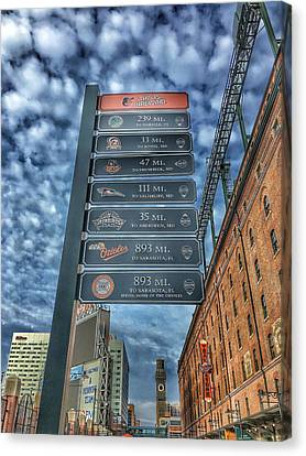 Oriole Park At Camden Yards - Signs Canvas Print by Marianna Mills