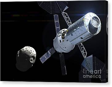 Orion Module Orbiting An Asteroid Canvas Print by Adrian Mann