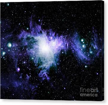 Orion Nebula Violet Teal Blue Canvas Print