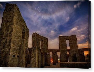 Canvas Print featuring the photograph Orion Over Stonehenge Memorial by Cat Connor