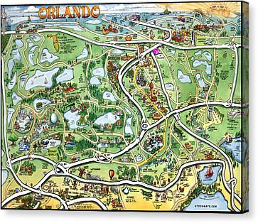 Orlando Florida Cartoon Map Canvas Print by Kevin Middleton