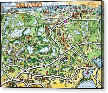 Orlando Florida Cartoon Map Canvas Print