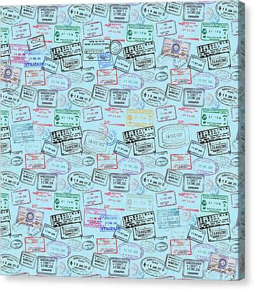 World Traveler Passport Stamp Pattern - Light Blue Canvas Print
