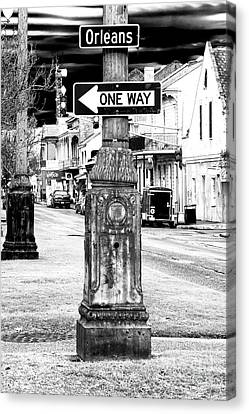 Interior Scene Canvas Print - Orleans Street One Way by John Rizzuto