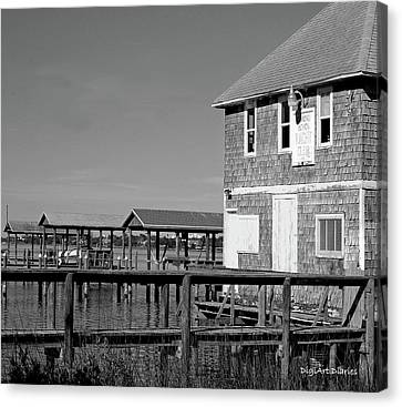 Ormond Yacht Club Black And White Canvas Print by DigiArt Diaries by Vicky B Fuller