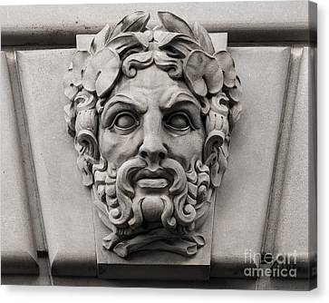 Ornamental Carved Stone Face - Washington Dc Canvas Print by Gary Whitton