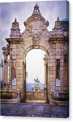 Ornamental Gateway Buda Castle Canvas Print by Joan Carroll