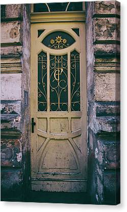 Ornamented Doors In Light Brown Color Canvas Print
