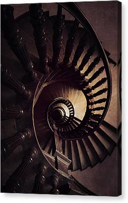 Ornamented Spiral Staircase In Brown Tones Canvas Print by Jaroslaw Blaminsky