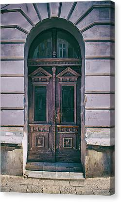 Ornamented Wooden Gate In Violet Tones Canvas Print by Jaroslaw Blaminsky