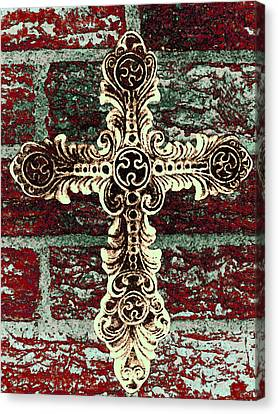 Ornate Cross 1 Canvas Print by Angelina Vick