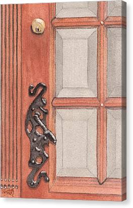 Ornate Door Handle Canvas Print by Ken Powers